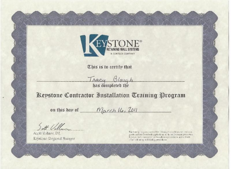 retaining wall certificate